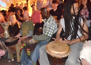 Drummers from all over the world gather for Asheville's legendary drum circle.