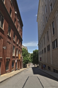 One of the many narrow streets leading out of downtown Asheville.